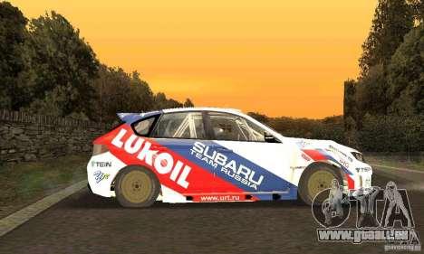 Subaru Impreza WRX STi Russia Rally pour GTA San Andreas vue intérieure