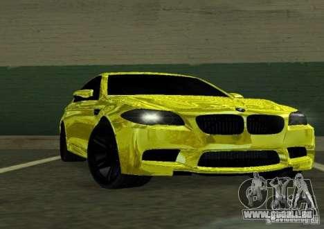 BMW M5 F10 Gold pour GTA San Andreas vue arrière