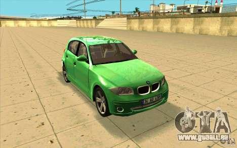 BMW 118i für GTA San Andreas Rückansicht