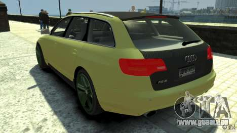 Audi RS6 Avant 2010 Carbon Edition pour GTA 4 Vue arrière de la gauche