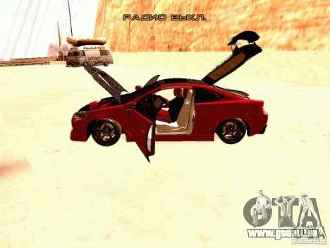 Acura RSX Drift pour GTA San Andreas vue intérieure