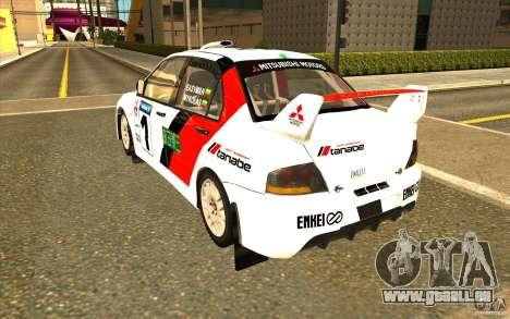 Mitsubishi Lancer Evo IX dans le nouveau vinyle pour GTA San Andreas sur la vue arrière gauche