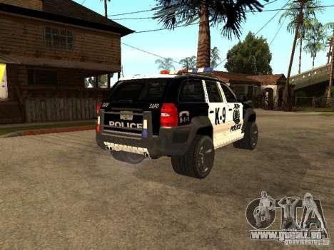 Jeep Grand Cherokee police K-9 pour GTA San Andreas sur la vue arrière gauche