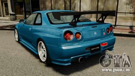 Nissan Skyline R34 2002 v1.1 für GTA 4 hinten links Ansicht