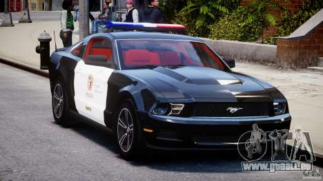 Ford Mustang V6 2010 Police v1.0 für GTA 4 Rückansicht