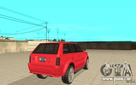Huntley Sport de GTA 4 pour GTA San Andreas sur la vue arrière gauche