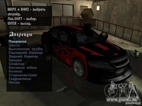 Mitsubishi Lancer Evo IX MR Edition pour GTA San Andreas vue de droite