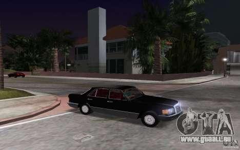 Mercedes-Benz W126 500SE pour GTA Vice City vue arrière