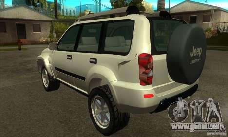 Jeep Liberty 2007 pour GTA San Andreas sur la vue arrière gauche
