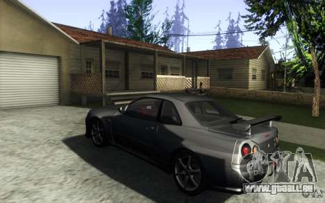 Nissan Skyline GTR R34 VSpecII für GTA San Andreas zurück linke Ansicht