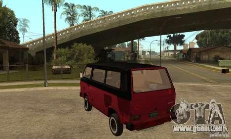 Volkswagen T3 Rusty pour GTA San Andreas sur la vue arrière gauche