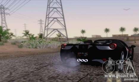 Ferrari F458 pour GTA San Andreas sur la vue arrière gauche