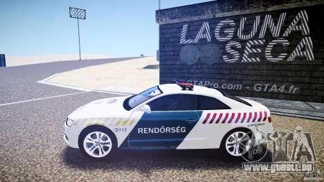Audi S5 Hungarian Police Car white body pour GTA 4 est une gauche