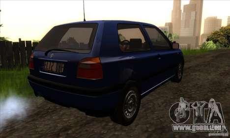 Volkswagen Golf 3 pour GTA San Andreas vue de droite