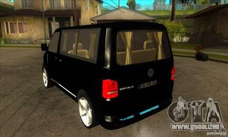Volkswagen Caravelle 2011 SWB pour GTA San Andreas sur la vue arrière gauche
