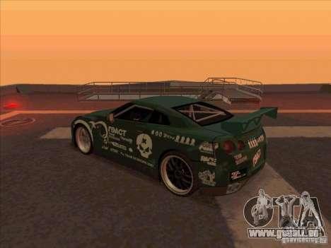 Nissan GT-R R35 rEACT pour GTA San Andreas sur la vue arrière gauche