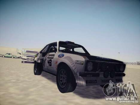 Ford Escort MK2 Gymkhana pour GTA San Andreas laissé vue