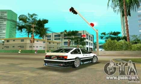 Toyota Trueno AE86 4type pour GTA Vice City sur la vue arrière gauche