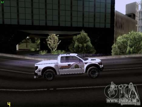 Ford Raptor Royal Canadian Mountain Police pour GTA San Andreas vue de côté