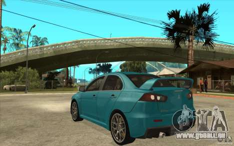 Mitsubishi Lancer Evo 2010 für GTA San Andreas zurück linke Ansicht