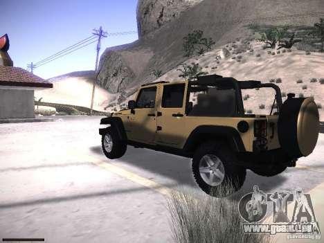 Jeep Wrangler Rubicon Unlimited 2012 pour GTA San Andreas laissé vue