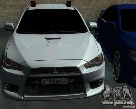 Mitsubishi Lancer Evolution X MR1 v2.0 pour GTA San Andreas vue de côté