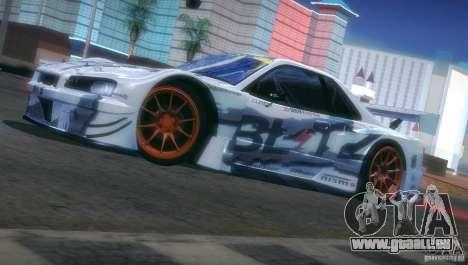 Nissan Skyline Touring R34 Blitz für GTA San Andreas Seitenansicht