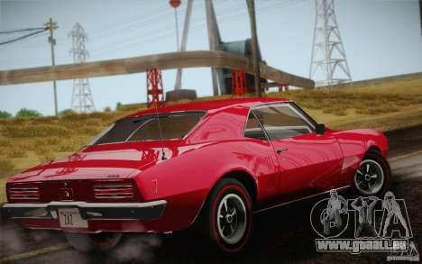 Pontiac Firebird 400 (2337) 1968 pour GTA San Andreas vue de dessous