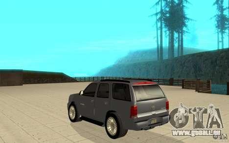 Cadillac Escalade pour GTA San Andreas sur la vue arrière gauche