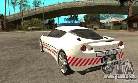 Lotus Evora S Romanian Police Car für GTA San Andreas zurück linke Ansicht