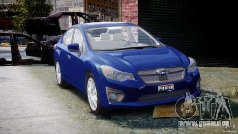 Subaru Impreza Sedan 2012 pour GTA 4 Vue arrière