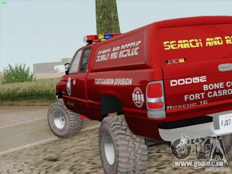 Dodge Ram 3500 Search & Rescue pour GTA San Andreas vue de dessus