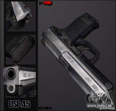 USP.45 Chrome pour GTA San Andreas deuxième écran