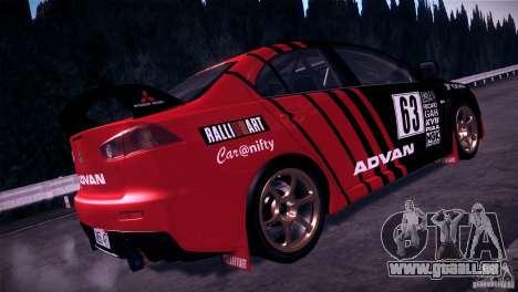 Mitsubishi Lancer Evolution X Tunable pour GTA San Andreas vue arrière