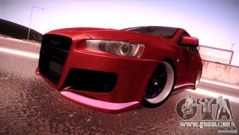 Mitsubishi Lancer Evolution X Tunable für GTA San Andreas zurück linke Ansicht