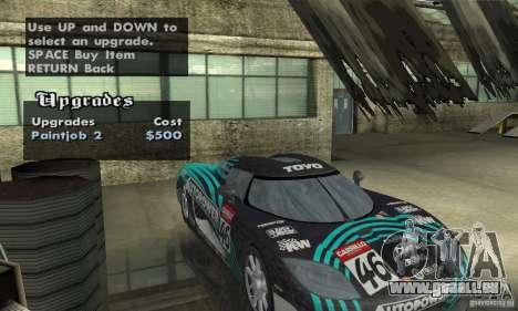 Koenigsegg CCX (v1.0.0) pour GTA San Andreas vue intérieure