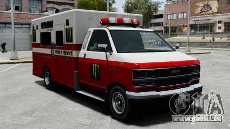Erste-Hilfe-Monster-Energie für GTA 4 linke Ansicht