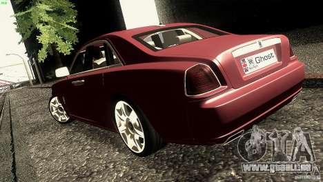 Rolls-Royce Ghost 2010 V1.0 pour GTA San Andreas sur la vue arrière gauche