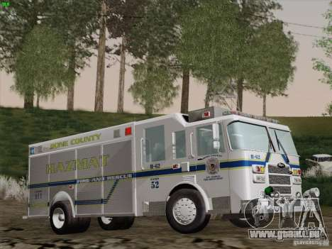 Pierce Fire Rescues. Bone County Hazmat für GTA San Andreas Seitenansicht