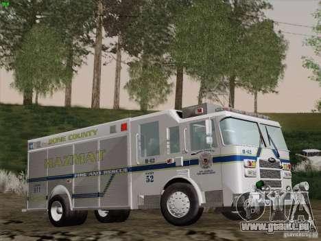 Pierce Fire Rescues. Bone County Hazmat für GTA San Andreas Seitenansicht
