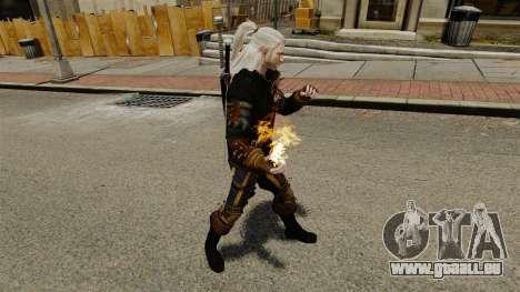 Le feu dans les mains de Geralt pour GTA 4