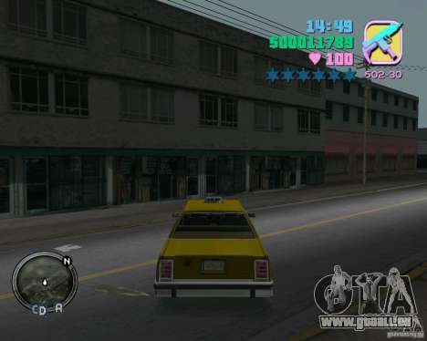 Ford Crown Victoria LTD 1985 Taxi pour une vue GTA Vice City de la droite