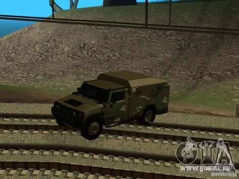 Hummer H2 Army pour GTA San Andreas vue intérieure