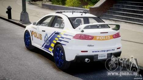 Mitsubishi Evolution X Police Car [ELS] für GTA 4 Seitenansicht
