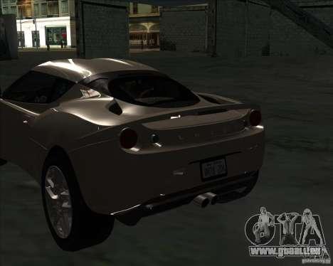 Lotus Evora pour GTA San Andreas sur la vue arrière gauche