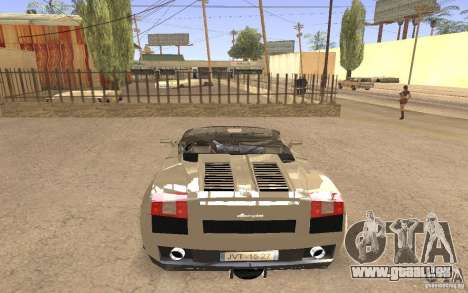 Lamborghini Galardo Spider für GTA San Andreas linke Ansicht