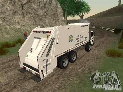 Camion à ordures de GTA 4 pour GTA San Andreas vue arrière