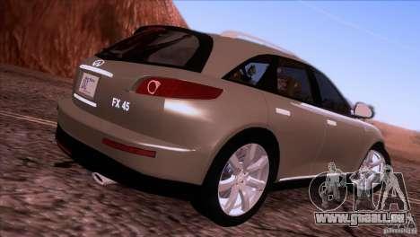 Infiniti FX45 2007 pour GTA San Andreas laissé vue