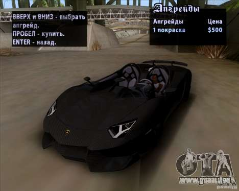 Lamborghini Aventador J TT Black Revel für GTA San Andreas Innenansicht