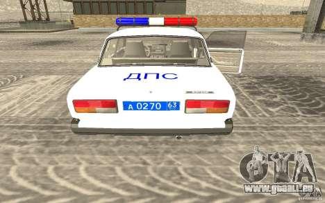 Voiture de Police VAZ 2107 DPS pour GTA San Andreas laissé vue